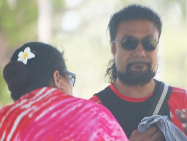 Tongan Sam visits his son Nim Ngata in Coffs Harbour Hospital after he was shot.