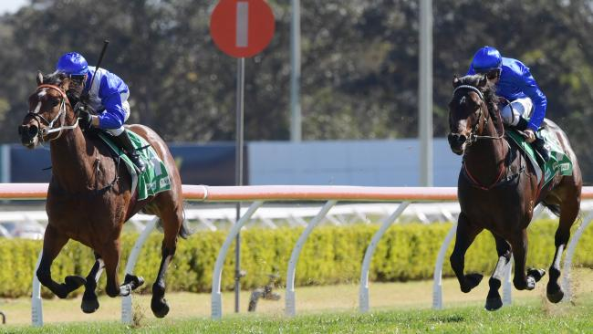 Jockey Kerrin McEvoy steers Miss Fabulass to victory at Canterbury Park on Wednesday. Picture: AAP
