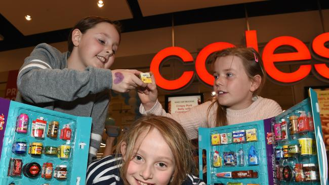 Audrey Henderson 9, Annalise Henderson 7 and Abi Campbell, 8 at Southland Coles little swap meet. Picture: Nicole Garmston