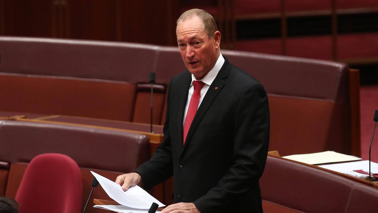 Senator Fraser Anning makes his maiden speech in the Senate Chamber at Parliament House in Canberra. Picture: Kym Smith