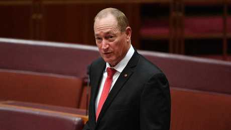 Katter's Australian Party Senator Fraser Anning makes his maiden speech in the Senate chamber at Parliament House on Tuesday. Picture: AAP/Mick Tsikas