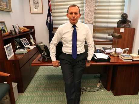 Tony Abbott in his office at Parliament House in Canberra. Picture Kym Smith