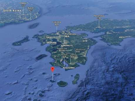 A volcanic eruption warning has been issued for Kuchinoerabu Island, off the south coast of Japan's main South Island. Picture: Google Maps
