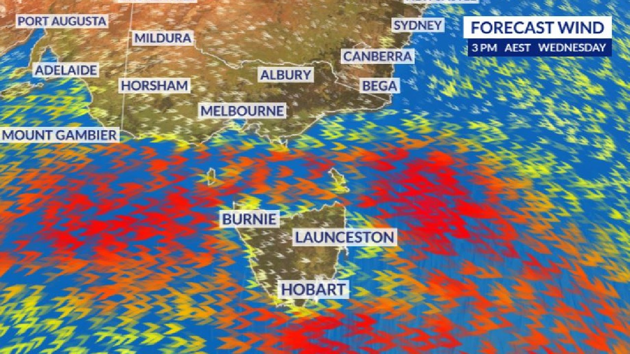 Windy conditions are bringing showers, snow and sending bushfires out of control.