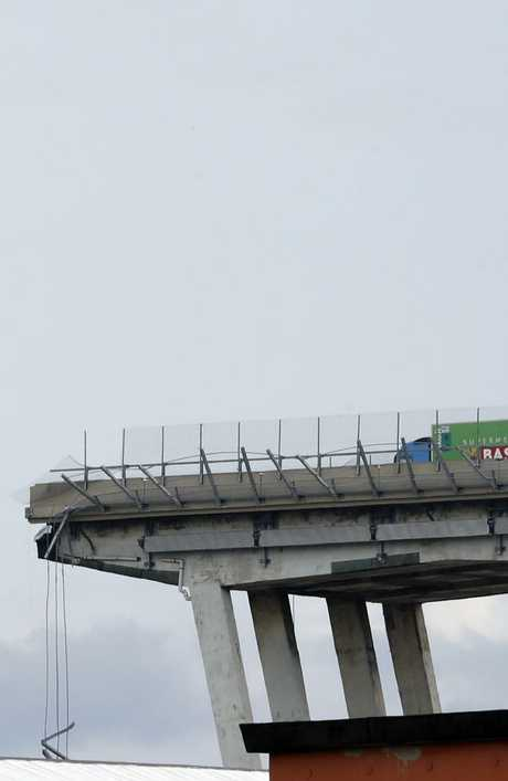 The truck driver came mere metres away from the edge. Picture: AP/Antonio Calanni