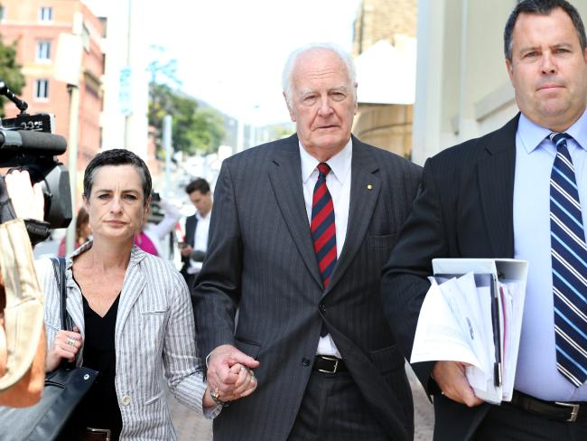Peter Hollingworth leaves the royal commission hearing into Institutional Responses to Child Sexual Abuse in Hobart. Picture: Nikki Davis-Jones