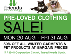 50% Off BARGAIN Prices on Winter Garments & Pet Accessories at FRIENDS of the POUND