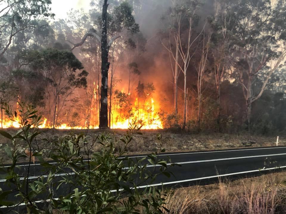 Glenugie Rural Fire Brigade crews contain the blaze