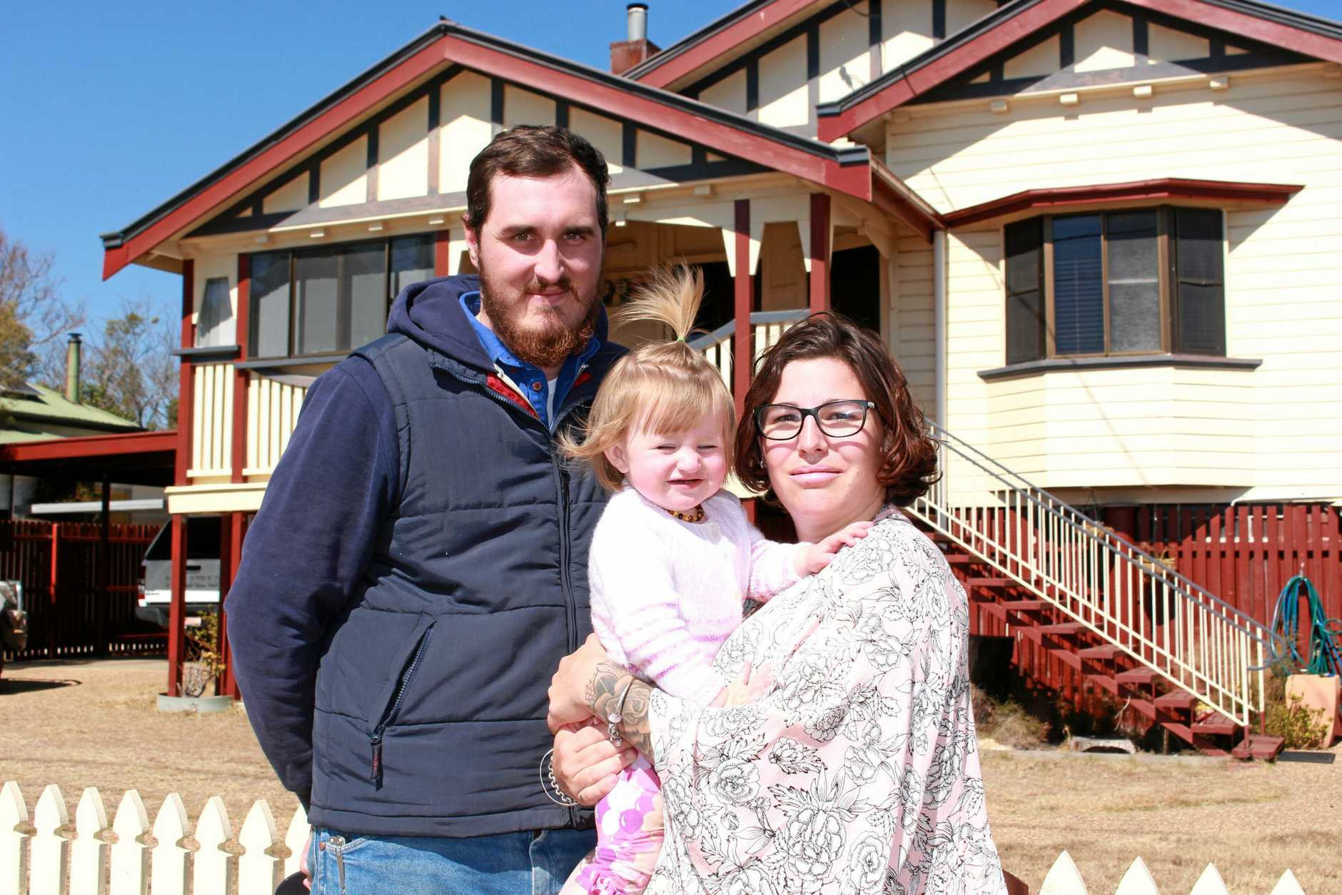 SAFETY CONCERN: Ben and Emmelene McDonald don't want their one-year-old daughter Delilah put in danger by hoons driving recklessly through the roundabout near their house.