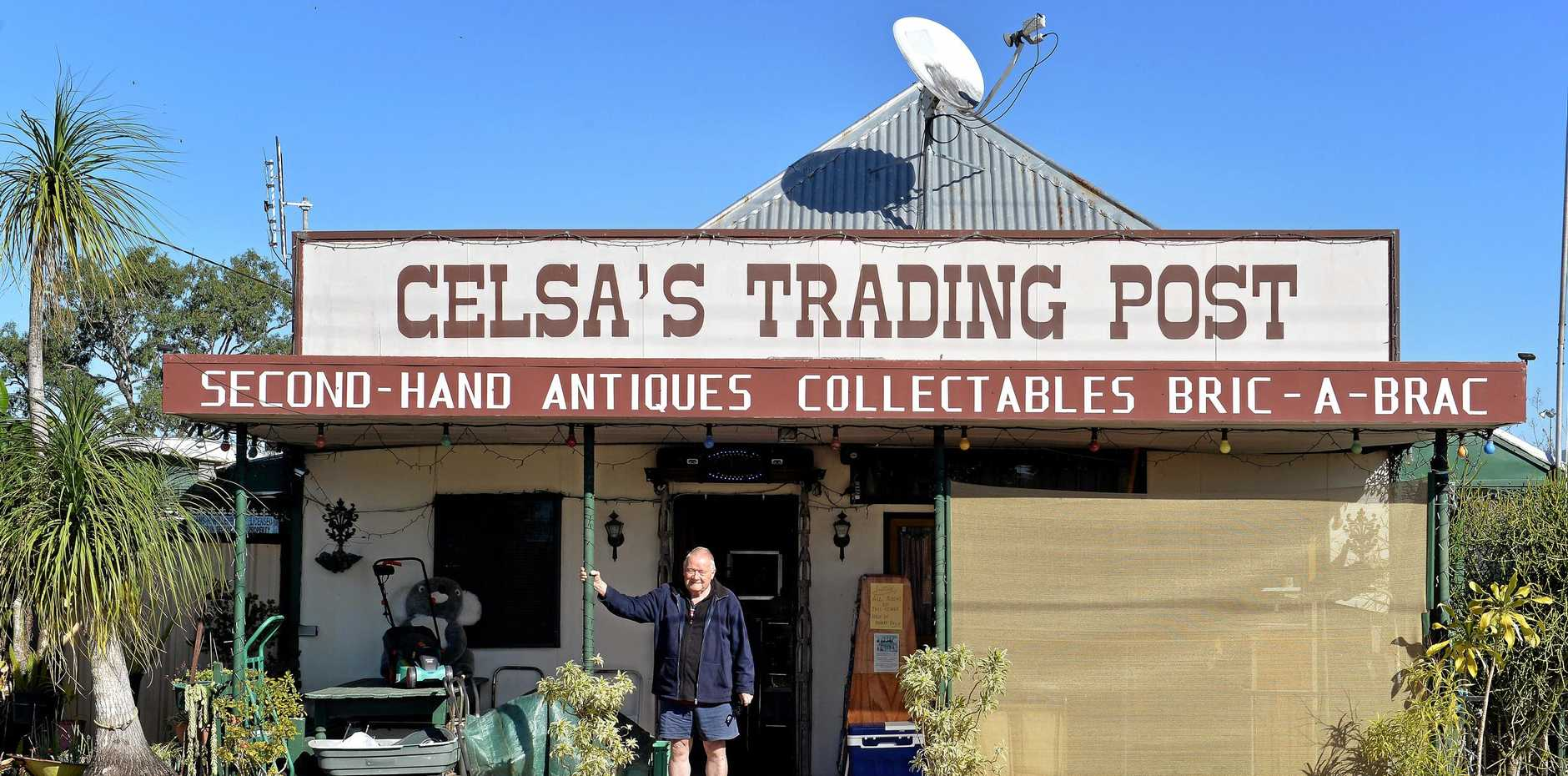 POPULAR STOP: Hans Willenbock outside the Gargett second-hand shop he runs with his wife Celsa.
