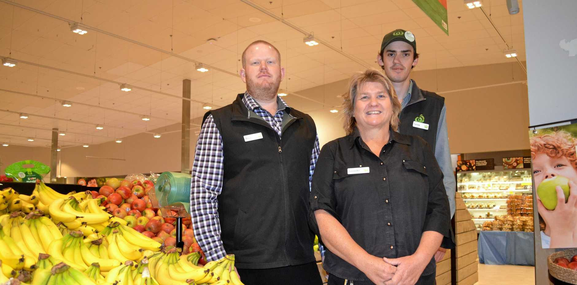 SHOP LOCAL: Adrian Dean, Leeander Walsh and Tyrone Ward from Woolworths Roma are helping support drought affected farmers.