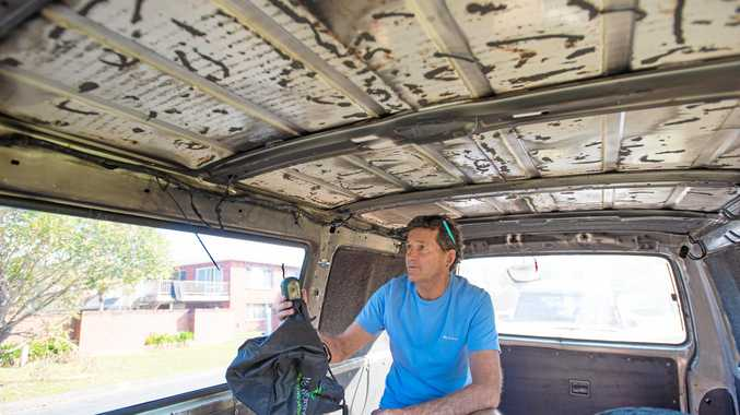 INSIDE RUINED: Warren Anderson had his van firebombed in Vincent Street.