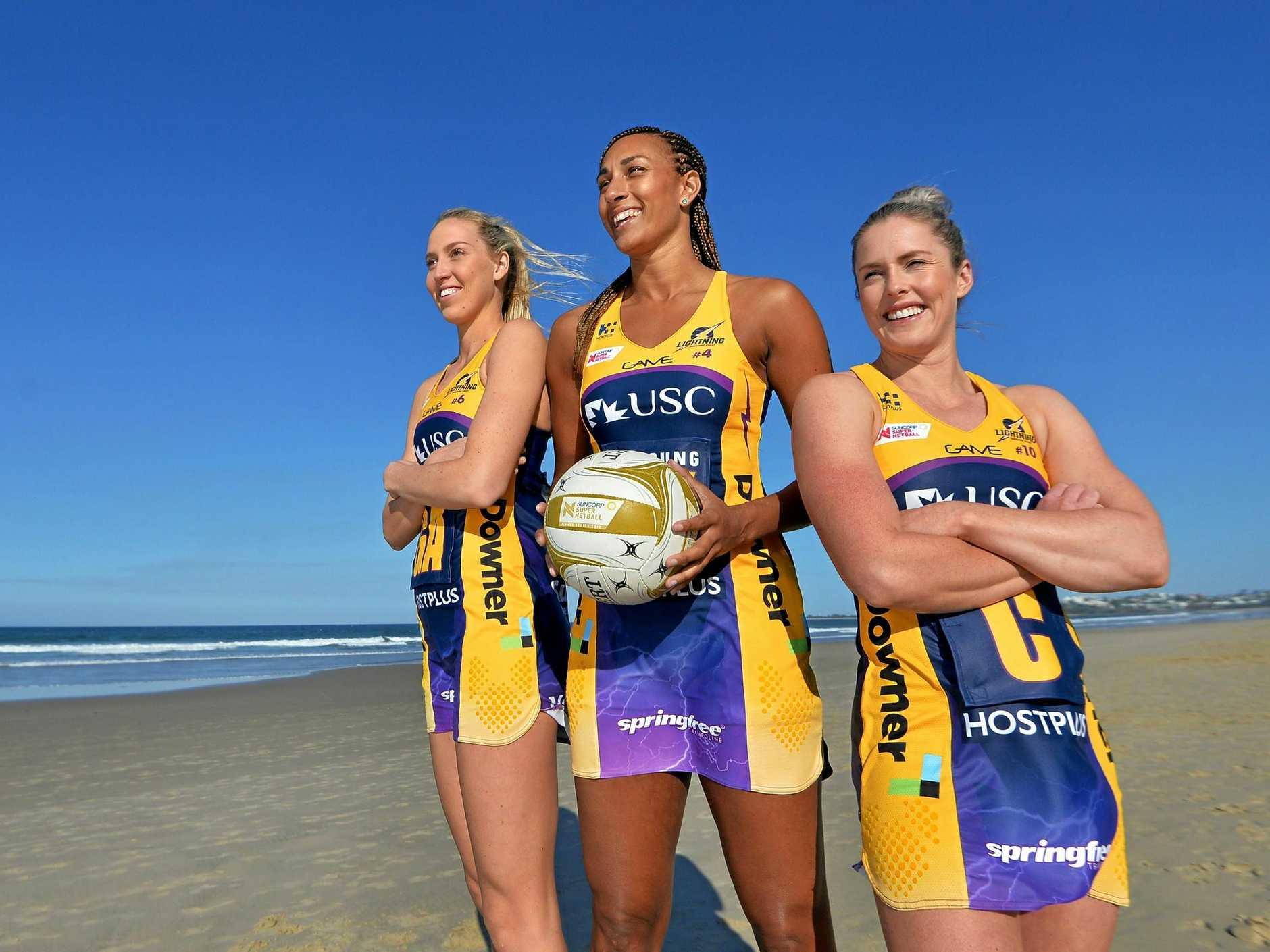 Sunshine Coast Lightning players Cara Koenen, Geva Mentor and Laura Scherian.