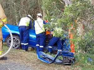 Man left trapped in single vehicle crash