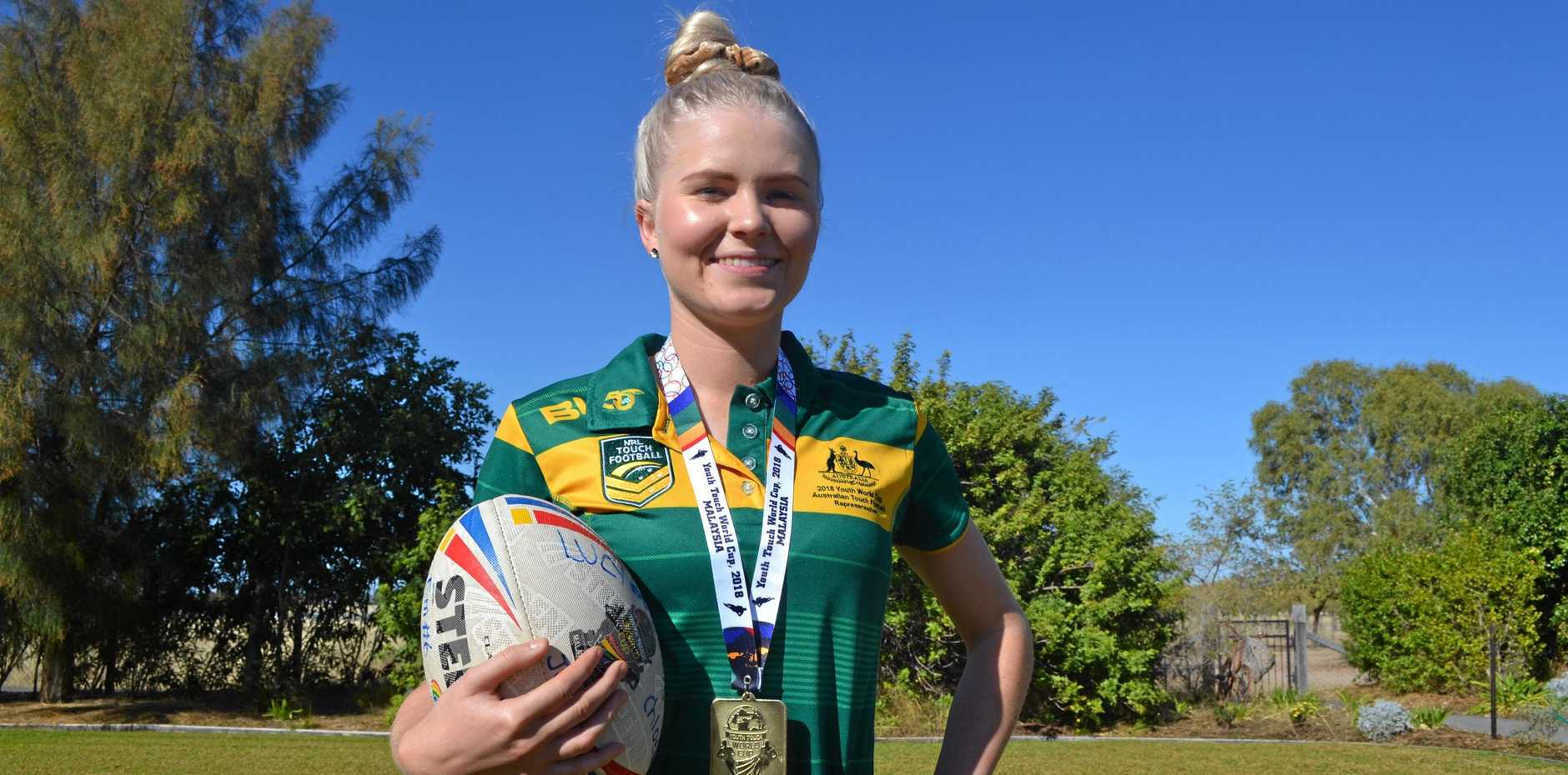 GOLD: Jess Bourke has recently returned from Malaysia's Youth Touch World Cup for Australia with gold.