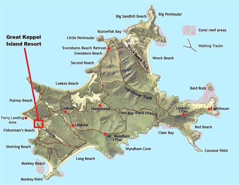 GKI MAP: Location of the Great Keppel Island resort.