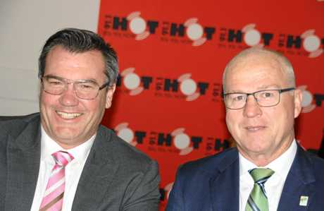 Caloundra Chamber of Commerce president Michael Shadforth and Sunshine Coast mayor Mark Jamieson.