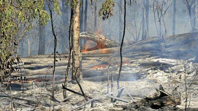 BLAZE: Fires burn at a property in Ramornie.