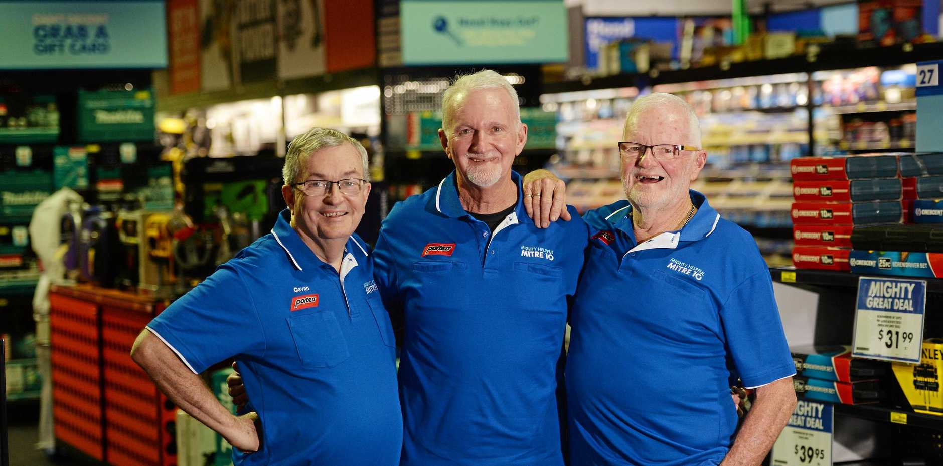 LONG ROAD: Porters Mitre 10 is celebrating 135 years. Charles Porter's great grandchildren Gavan Snr, Paul and Barry Porter are pictured in the Mackay store.
