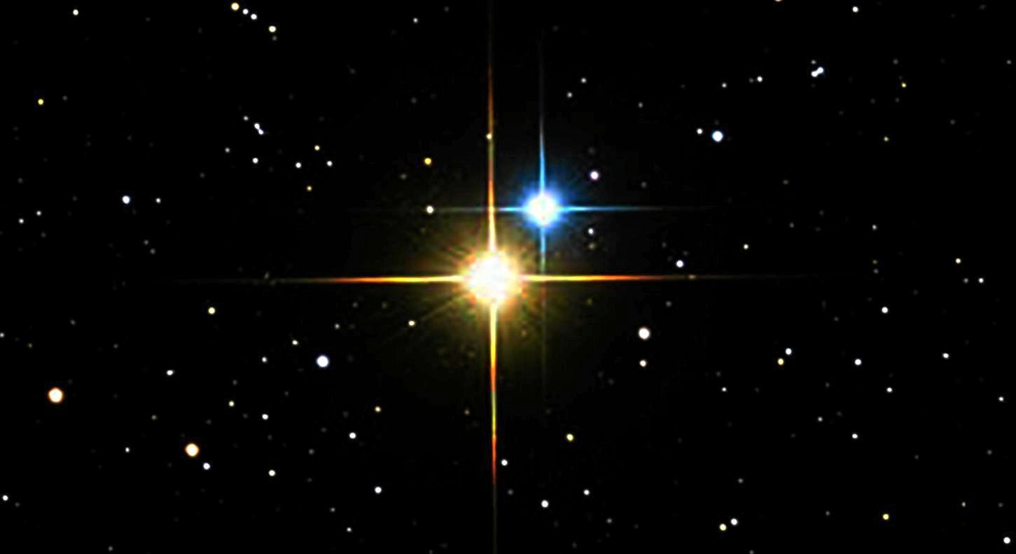 LOOK UP: The Alberio binary star.