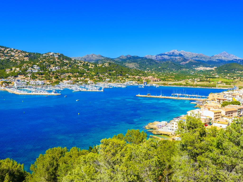 Panoramic view over the Port Andratx and the Sierra de Tramontana, Mallorca.