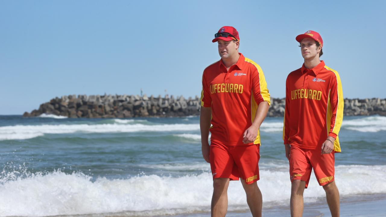 Lifeguards inspect Lighthouse Beach at Ballina, which was closed after a 2016 shark attack. Picture: Glenn Hampson