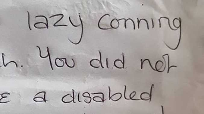 Nasty note to mum and sick son
