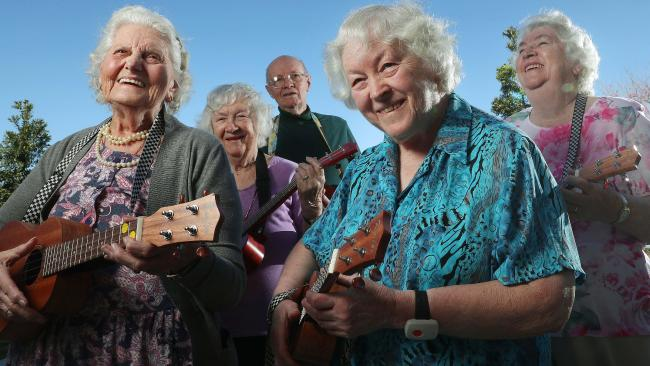 Mavis Mottlee, 83, Gloria Higgins, 88, Bert Higgins, 89, Maureen Taylor, 80, and Gwen Hooper, 81, rehearsing during ukulele music class at Seasons residential aged care facility, Waterford West. Picture: Liam Kidston.