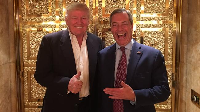 Donald Trump and Nigel Farage after the 2016 US election.