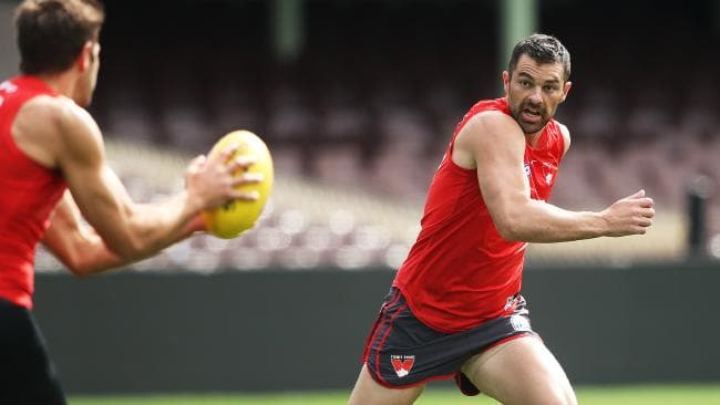Heath Grundy at Sydney Swans training. Picture: Phi Hillyard