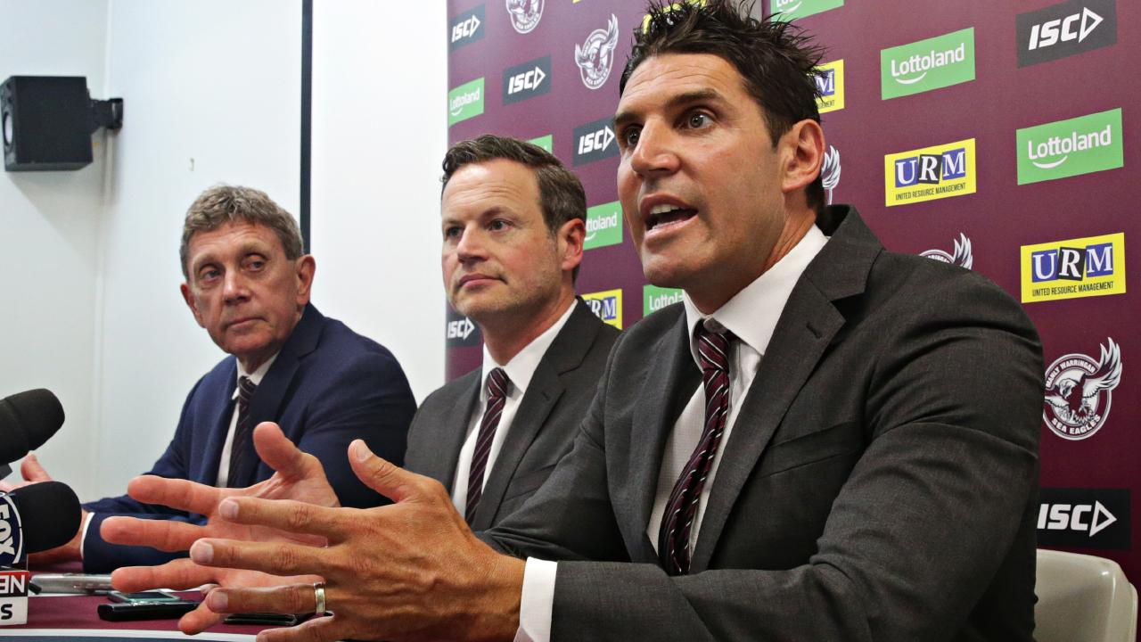 Trent Barrett (right) has reportedly resigned as coach of Manly.