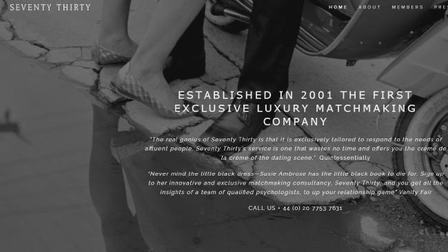 """On its web page, Seventy Thirty claims it offers """"crème de la crème"""" matches."""