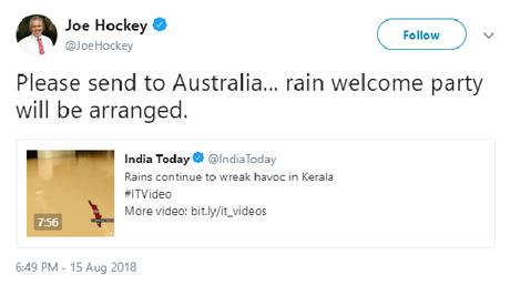 This tweet by Joe Hockey has sparked a fierce backlash on social media.
