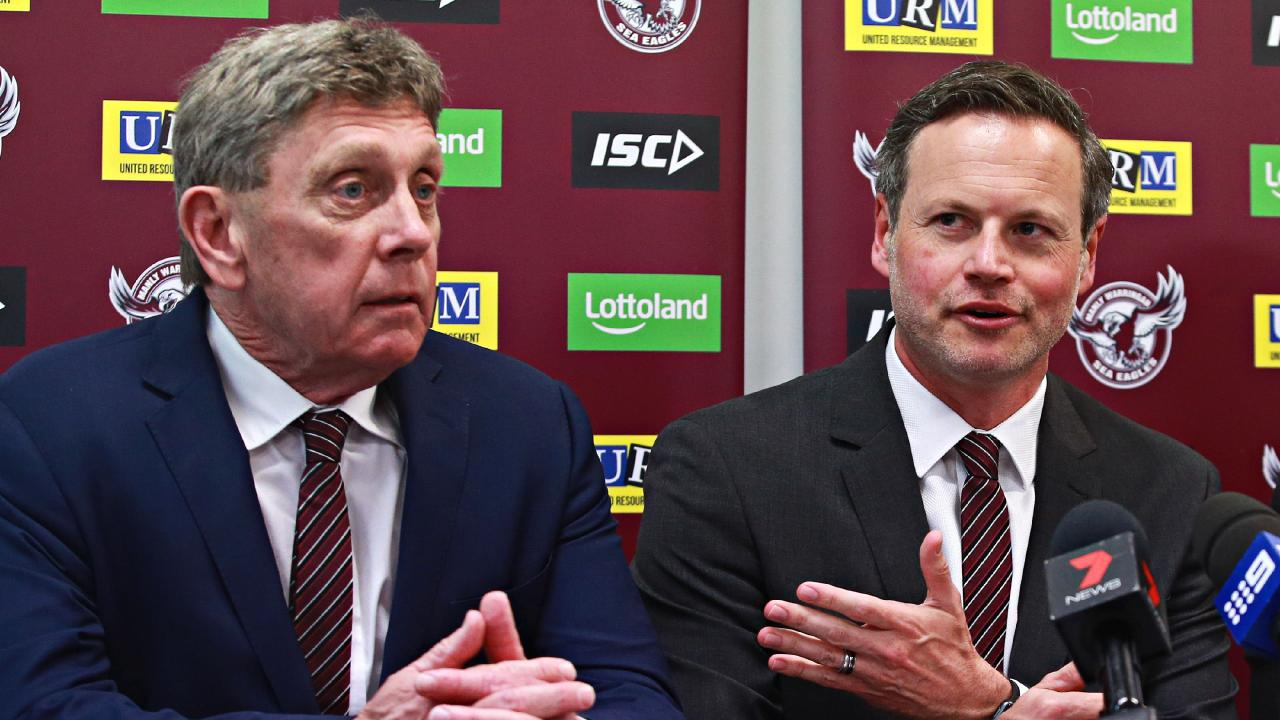 Sea Eagles chief executive Lyall Gorman with chairman Scott Penn.