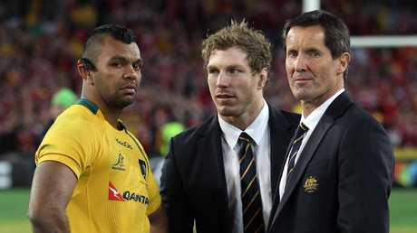 Kurtley Beale and David Pocock with Robbie Deans.