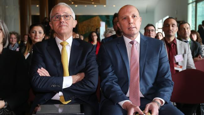 Malcolm Turnbull and Minister Peter Dutton are a unified voice outside of Cabinet. Picture: Kym Smith