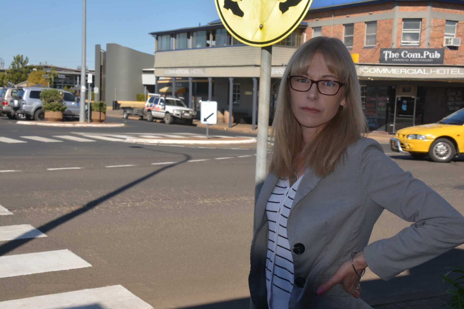 South Burnett Times office manager, Sharon Jones, was struck by a car on the Haly St pedestrian crossing yesterday.
