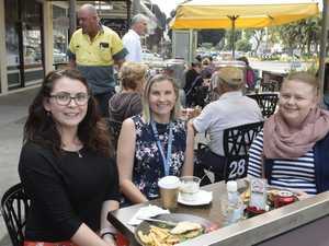 OUTDOOR DINING: Sarah Malthouse, Katrina Wade and
