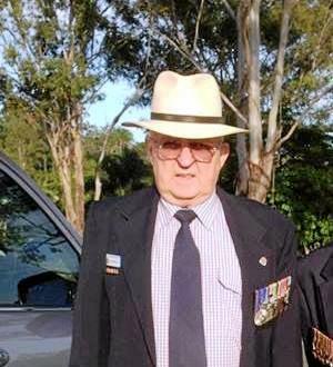 Retired RAAF Wing Commander Lloyd Brown on Anzac Day in 2014.