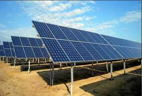 Fixed array at a solar farm.