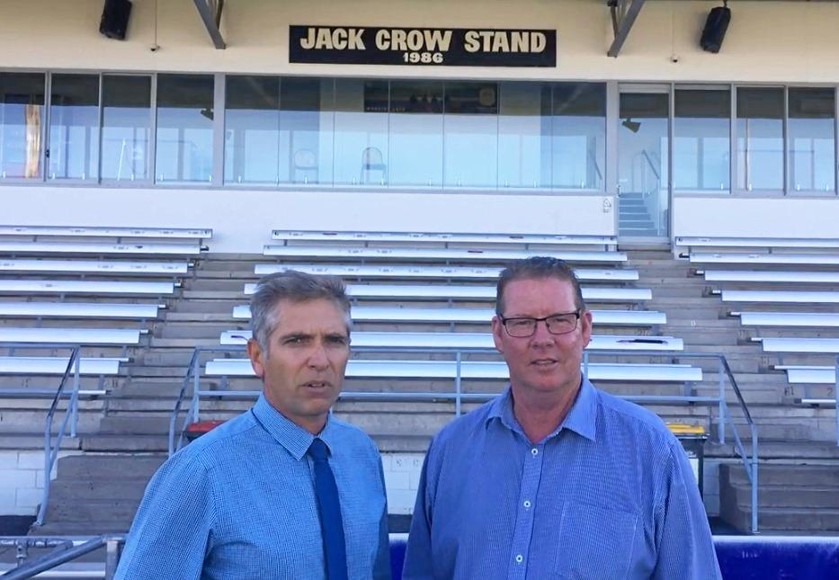 TALKING EXPANSION: Chairman of board of directors of Rockhampton Leagues Club Graeme Crow with Rockhampton MP Barry O'Rourke are keen to see Browne Park developed.