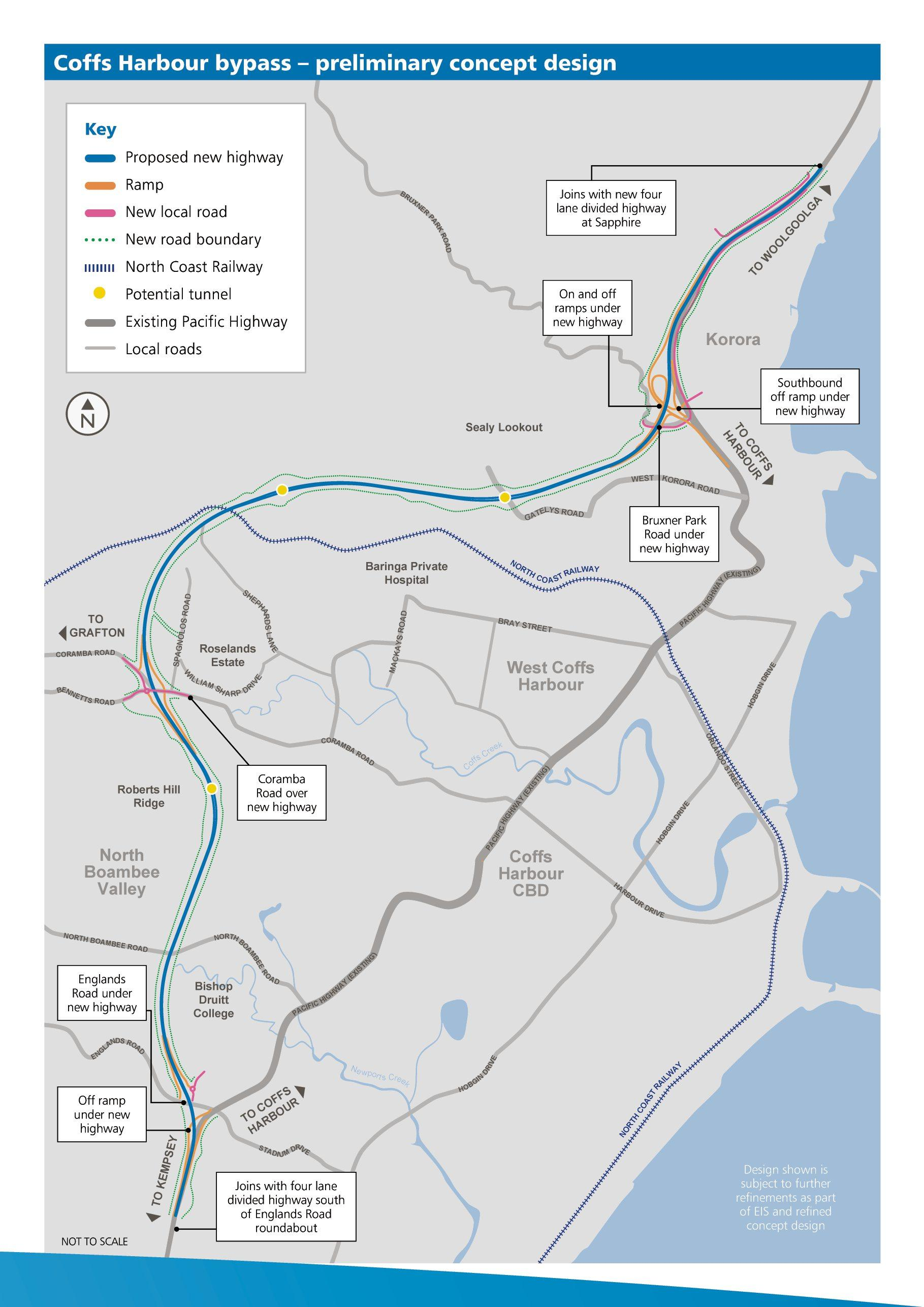 Coffs Harbour Bypass map