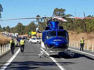Rescue helicopter lands on highway
