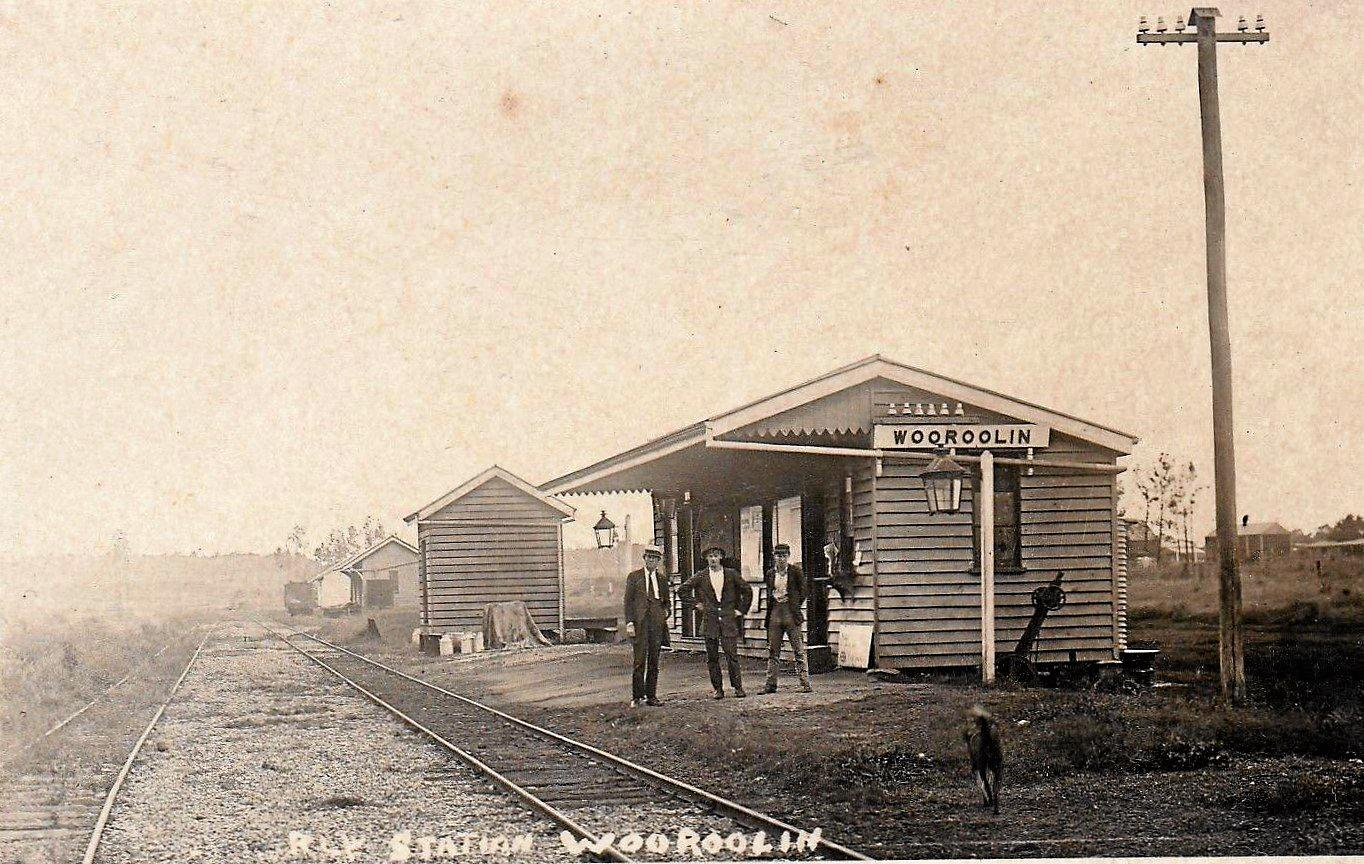 A historical photo of the Wooroolin train station.