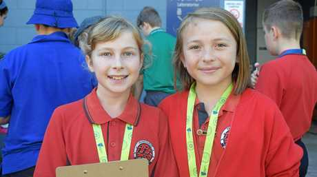 Trinity and Lilly from Parkhurst State School were excited to solve the maths and science problems.