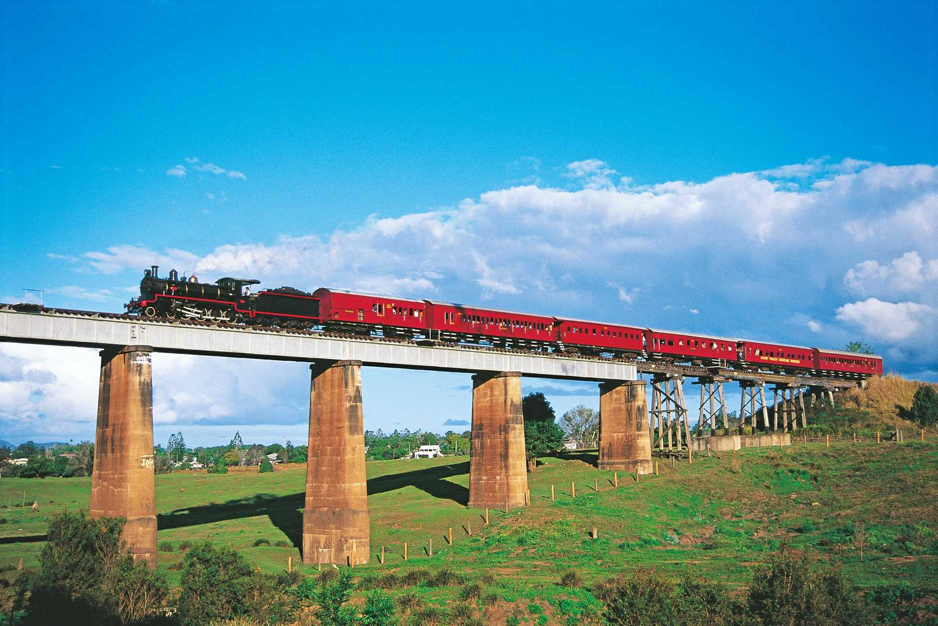 The Valley Rattler Steam Train is a fun and historic way to see the gorgeous Gympie countryside. Photo by Tourism and Events Queensland
