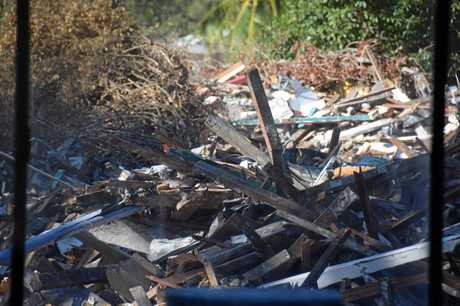 Timber rubble to be recycled.