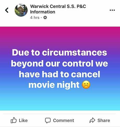 Central issues a Facebook post to inform parents the movie night had been cancelled.