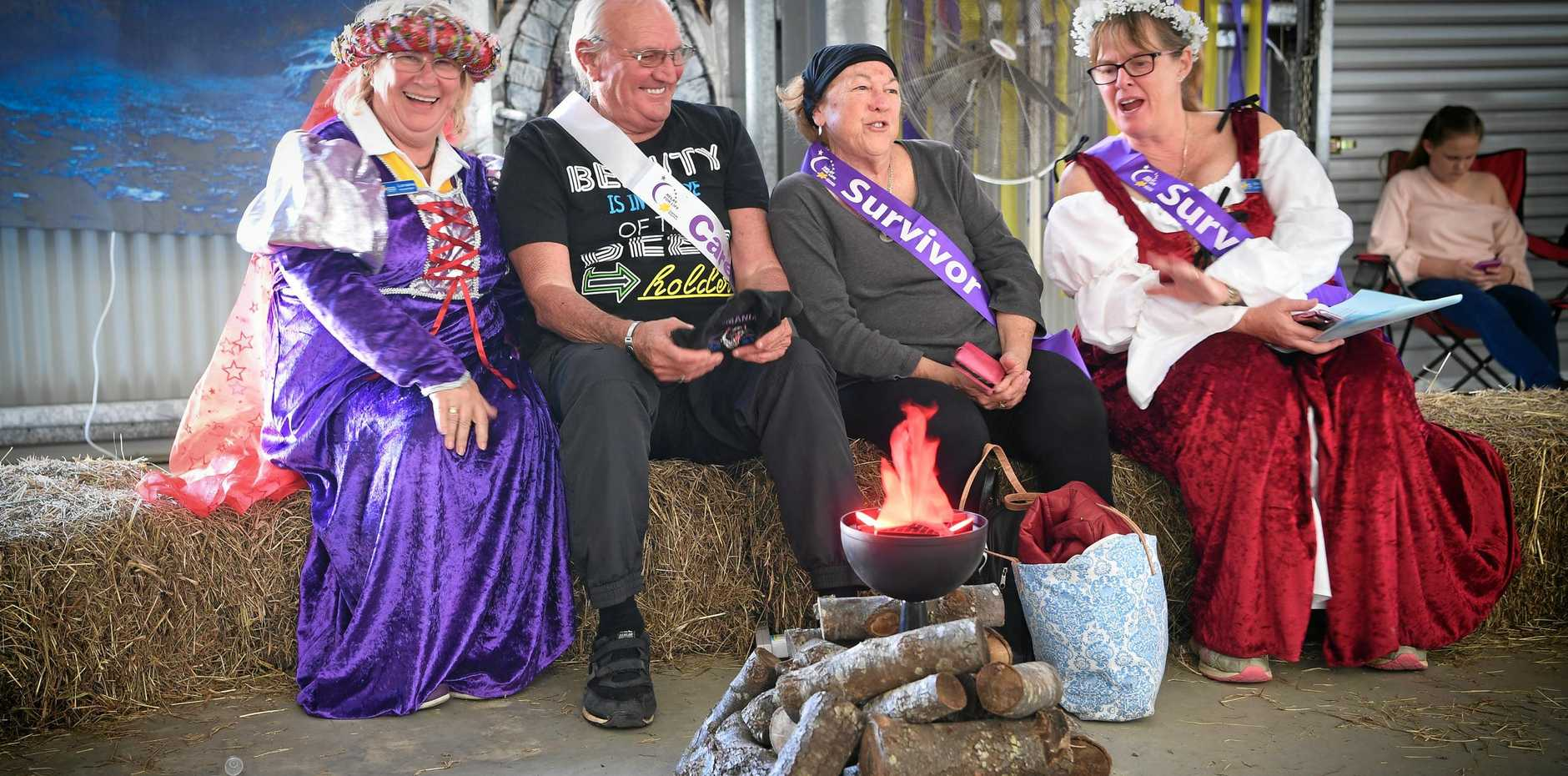 Having a laugh around the camp fire are Lorraine Wratten, Mike and Maggie Diener and Donna Havermann. Maggie is a melanoma survivor as is Donna who, when pregnant, discovered a melanoma for the second time.