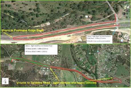 Temporary alternative access from Warrego Highway to Postmans Ridge Road, Helidon Spa (above); and temporary access from Warrego Highway to Twidales Road (below).